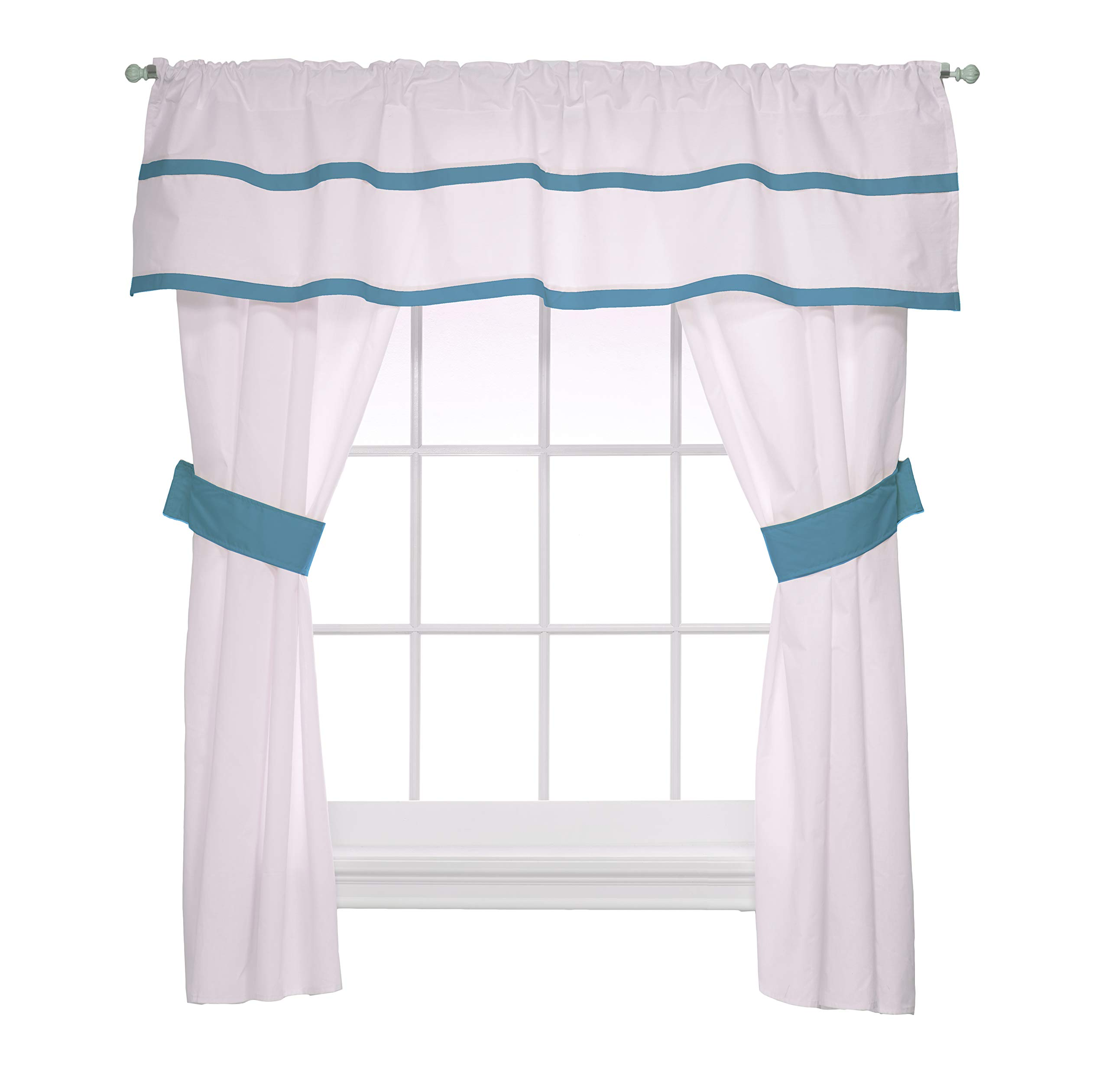 Baby Doll Medallion 5 Piece Window Valance and Curtain Set, Aqua by Baby Doll