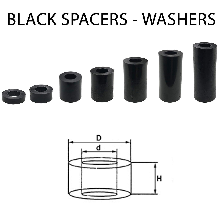 noir Spacers Lot de 12 rondelles en plastique Noir