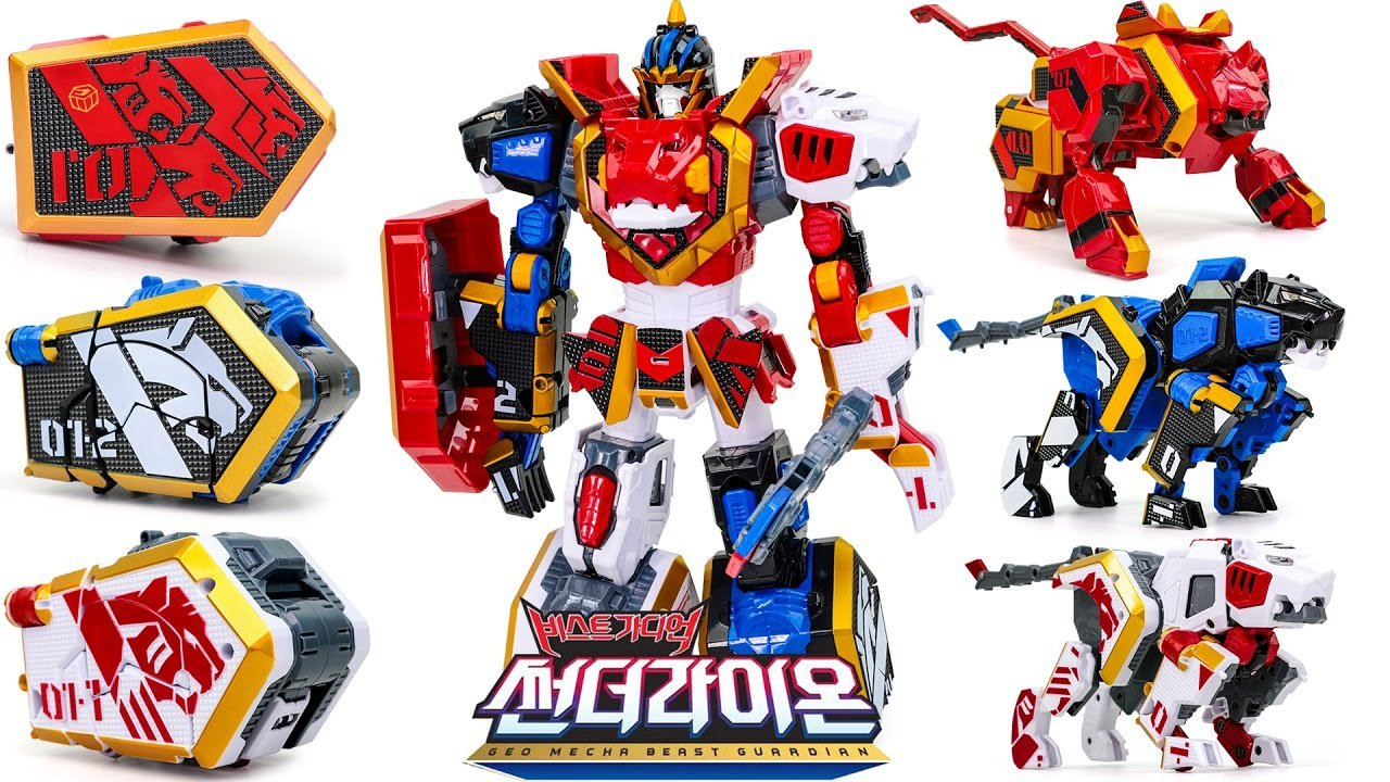 Young Toys Geo Mecha Beast Guardian Thunder Lion, 3 Types Transforming Robot (Solid, Beast and Warrior mode)