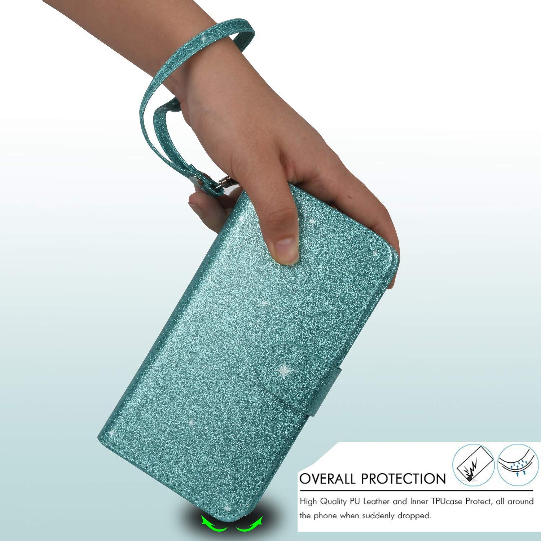 Ymhxcy LG Stylo 3 Wallet Case, LG Stylo 3 Plus Case,LG Stylus 3 Case,PU Leather [9 Card Slots][Detachable][Kickstand] Phone Case & Wrist Lanyard LG LS777-PT Mint by Ymhxcy (Image #6)
