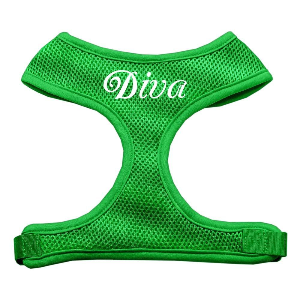 Dog   Cat   Pet Charms Diva Design Soft Mesh Harnesses Emerald Green Medium