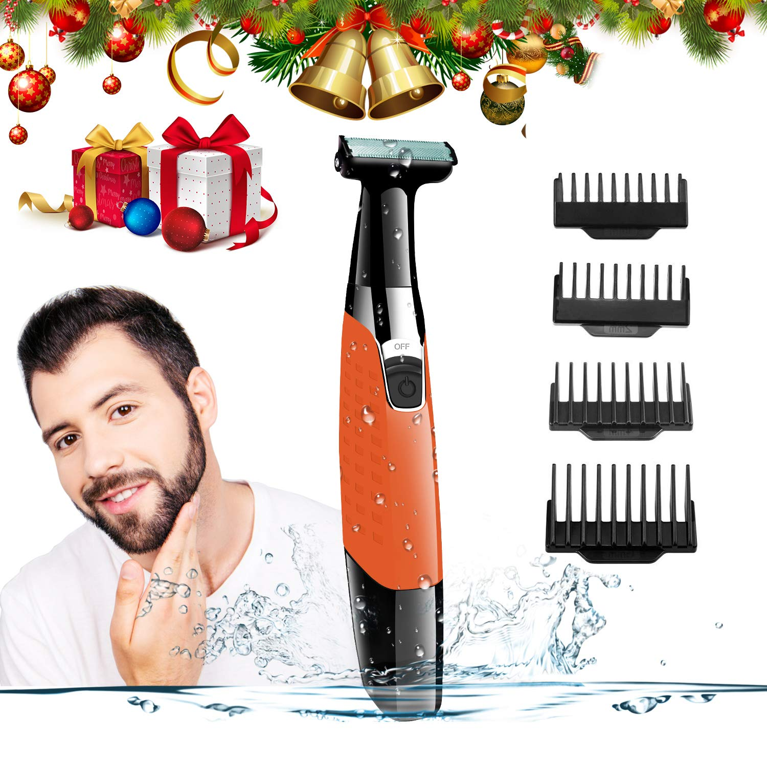 Electric Shaver Wet and Dry Men's Shaving Razor USB Rechargeable and Cordless Body Hair Remover for Women Hybrid Precision Trimmer and Edger with 4 Guide Combs & Cleansing Brush A-TION