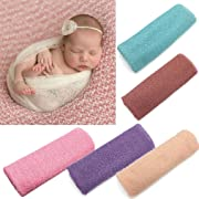 Newborn Baby Girls Boys Hollow Wraps Blanket Posing Swaddle Cover Photography Prop (Purple)