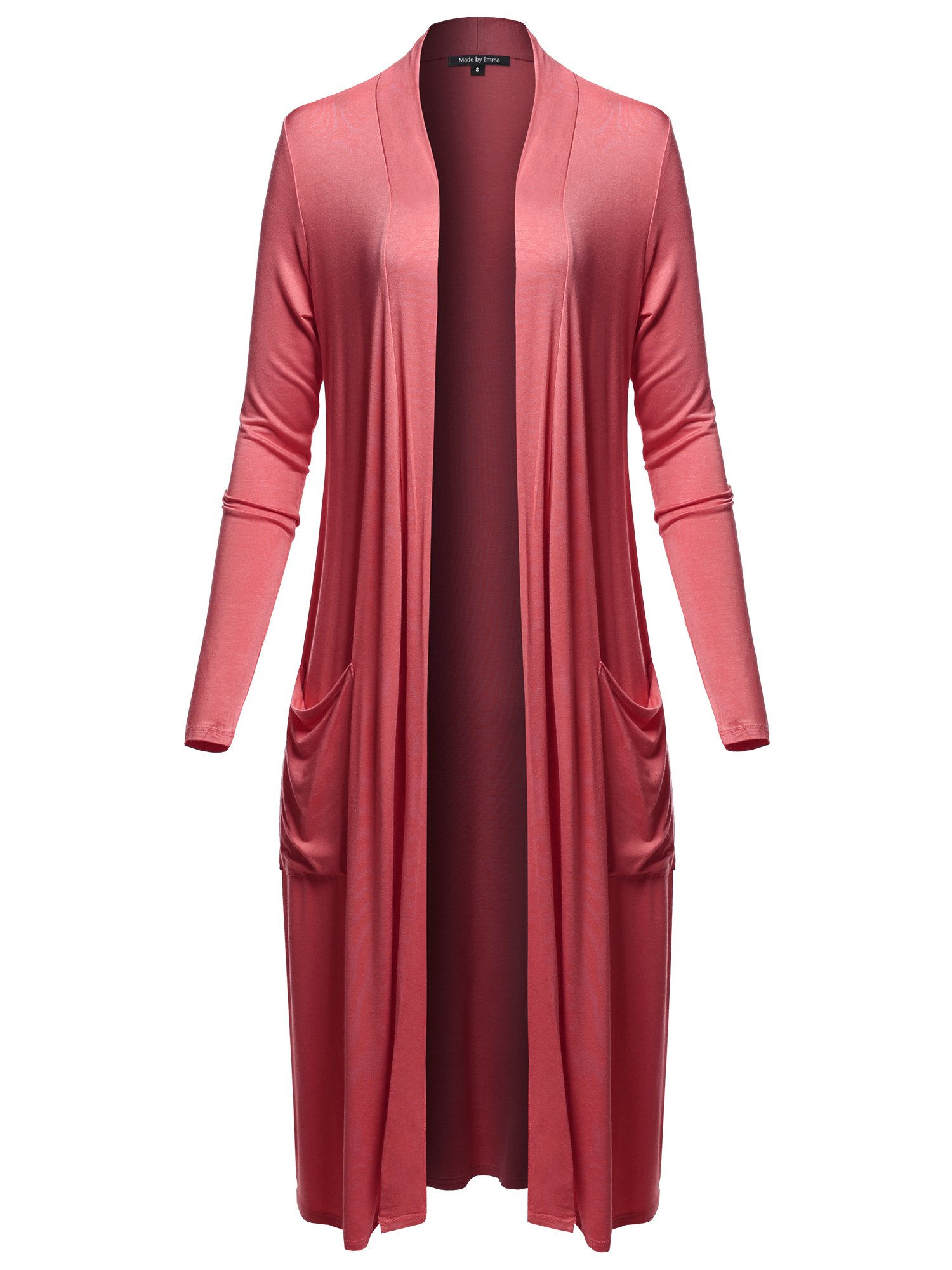 Made by Emma Long Sleeve Side Pockets Midi Length Open Front Cardigan Raspberry M