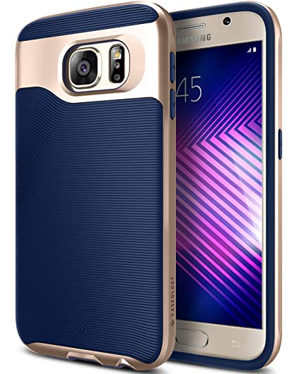 newest 75b00 b61f1 Caseology Wavelength for Galaxy S6 Case (2015) - Stylish Grip Design - Navy  Blue