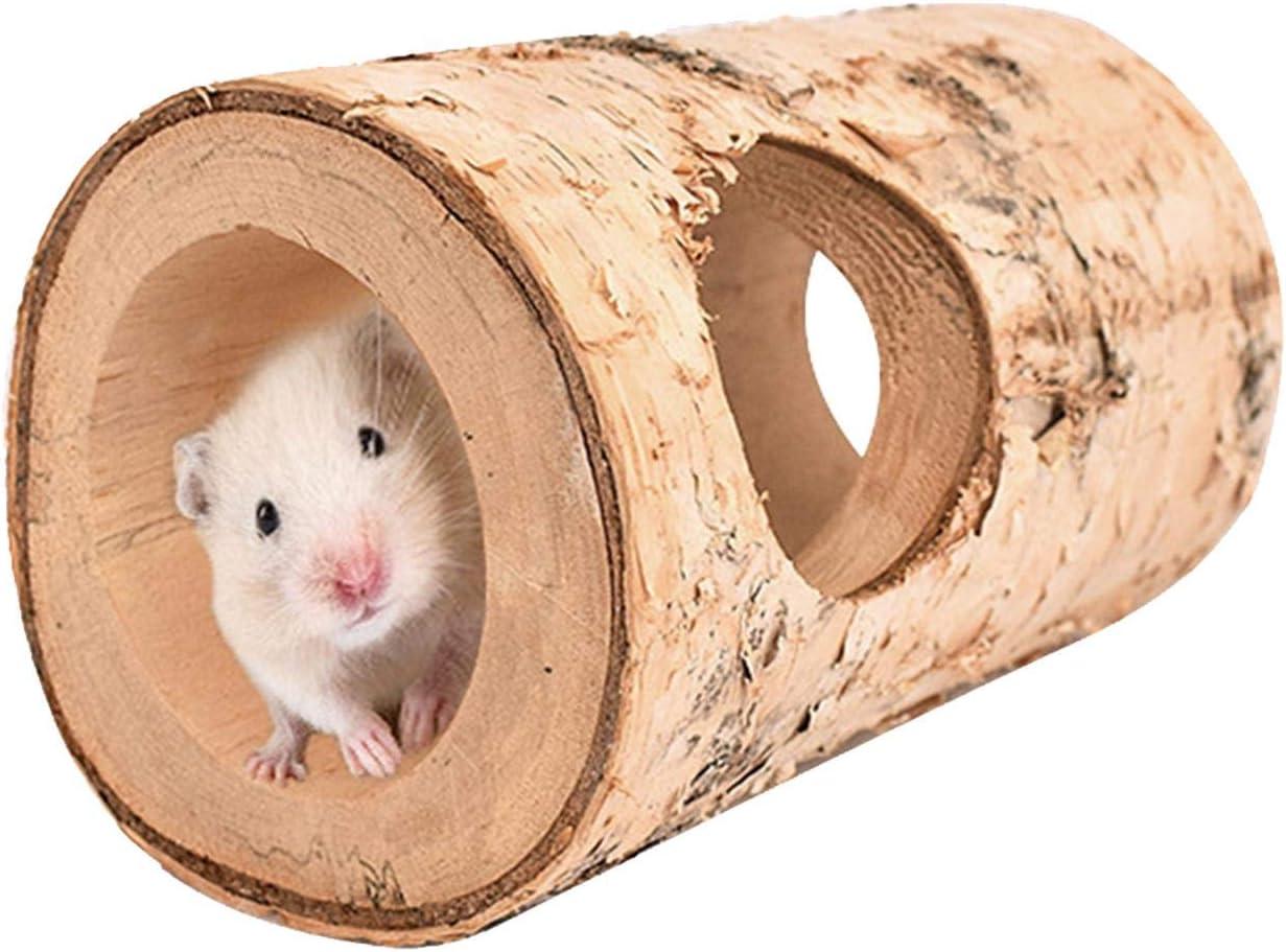 xianghaoshun Tubo de túnel de hámster de Juguete Tubo de Ejercicio de Madera Natural, Juguetes para Animales pequeños Túnel de Animales de Madera Tubo de hámster Ejercicio para Masticar Juguete