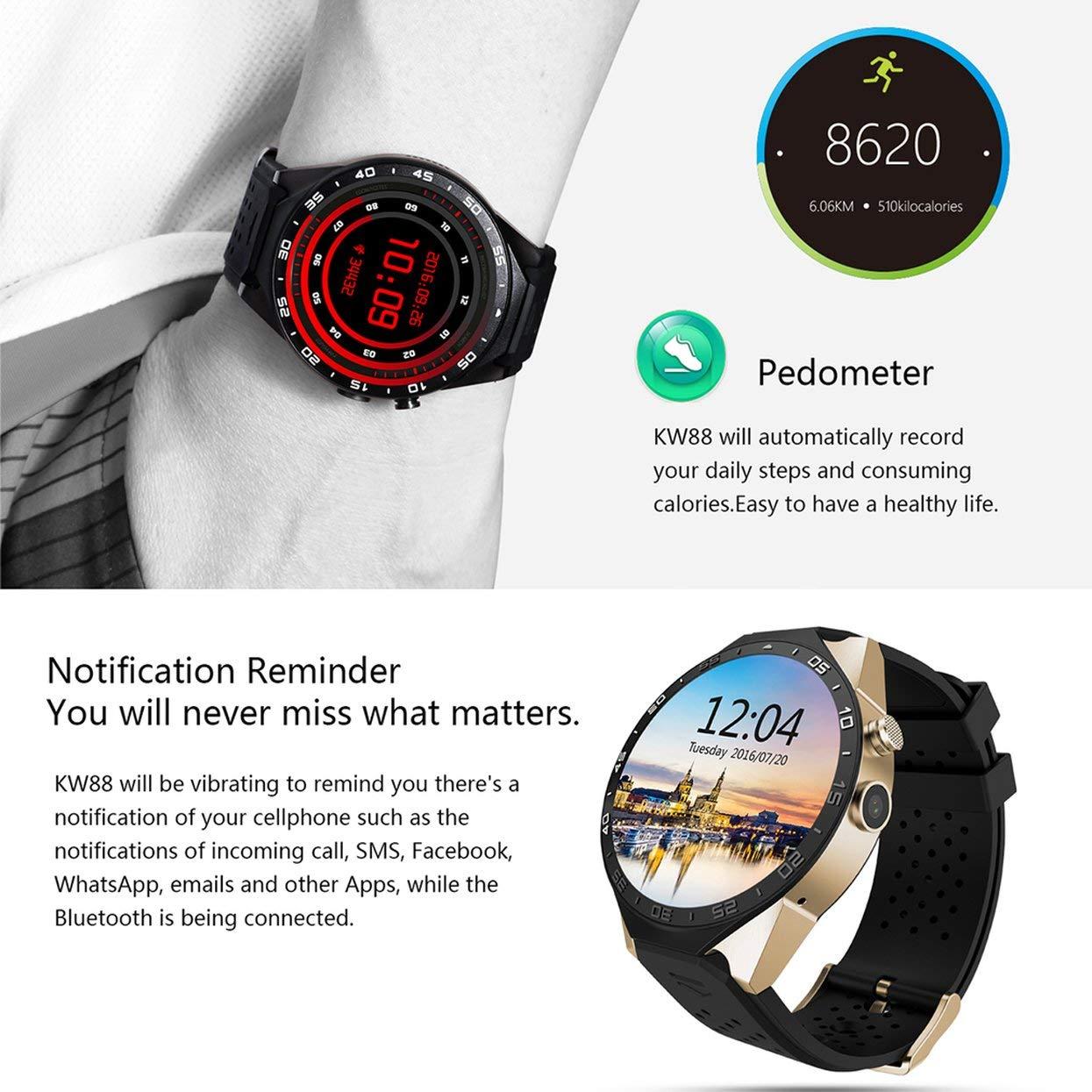 Tree-on-Life Dispositivo King-Wear KW88 SmartWatch Podómetro de ...