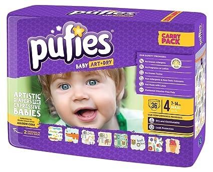 Pufies Baby Art Dry Jungle Pals - 36 Pañales, talla 4, 7-14