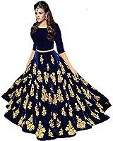 Salwar Style Women's Party Wear Navratri New Collection Special Sale Offer Bollywood Navy Blue Velvet Heavy Bridal Wedding Lehenga Chaniya Ghagra Choli
