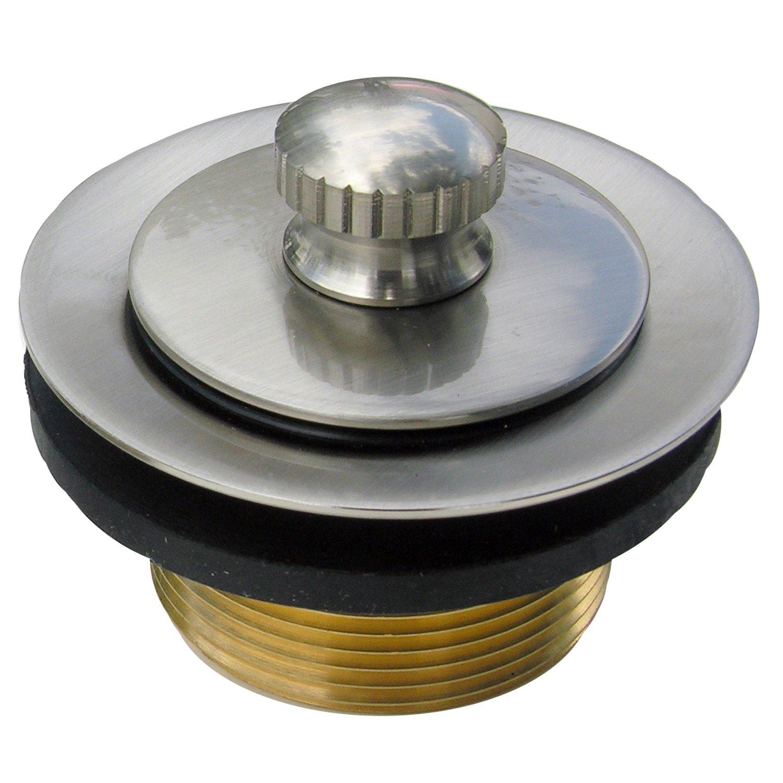 "Simpatico 34863SN Bath Tub, Lift & LOCK 1-1/4"" Shoe Strainer & Stopper, Satin Nickel"
