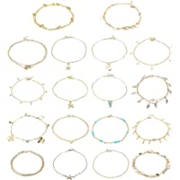 LOLIAS 18 Pcs Ankle Bracelets for Women Boho Beach Layered Anklet Chain Foot Jewelry Star Moon Leaf Anklet Adjustable Cute Anklet Set