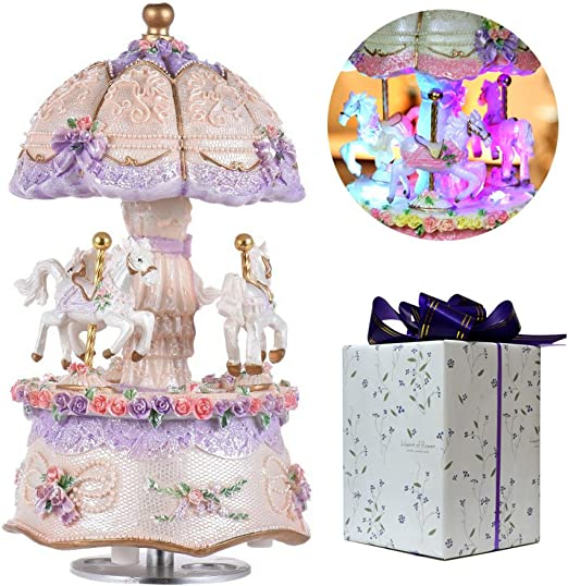 Merry-Go-Round Music Box Carousel Horse Color Changing LED Light Luminous