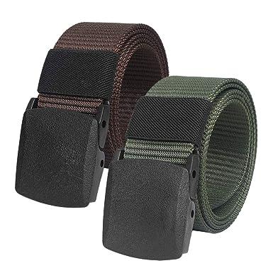 086442bded2be8 2er Unisex Gürtel Nylon Canvas Belt für Damen und Herren, Stufenlos  Verstellbarer Stoffgürtel, Länge