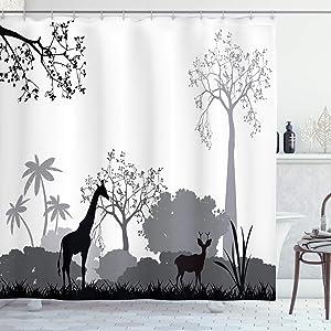 Ambesonne Safari Shower Curtain, Silhouette of Savannah with Giraffe Deer and Trees Wild Safari Region Theme, Cloth Fabric Bathroom Decor Set with Hooks, 70
