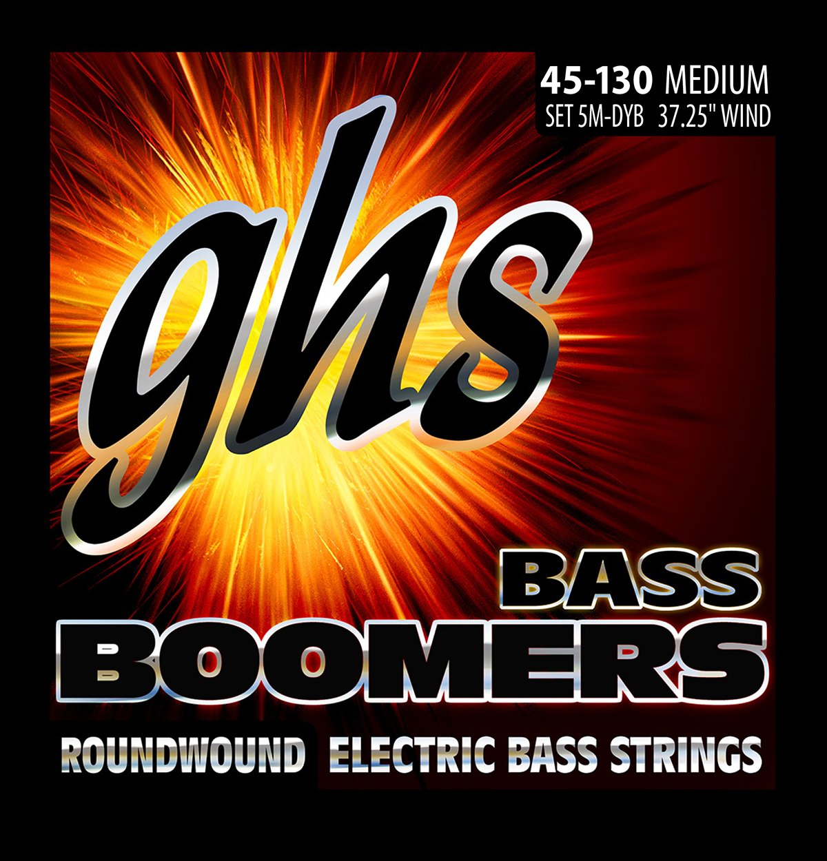 GHS Strings 5M-DYB 5-String Bass Boomers, Nickel-Plated Electric Bass Strings, Long Scale, Medium (.045-.130) GHS Corporation