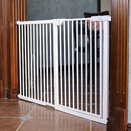 JHUEN Puertas para Mascotas Extra Altas y Anchas para Puertas Escalera Patio de Juegos Protector de Pared Metal Blanco Bebé Perro Puerta de Gato 120 cm Altura, 71-166 cm Ancho (Tamaño: 104-110):