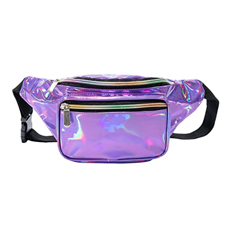 62ef7a044706 Holographic Cool Style Transparent fanny pack For Women Girls 80s Festival  Rave Personality Fashion Waist Belt bag-Holographic Purple