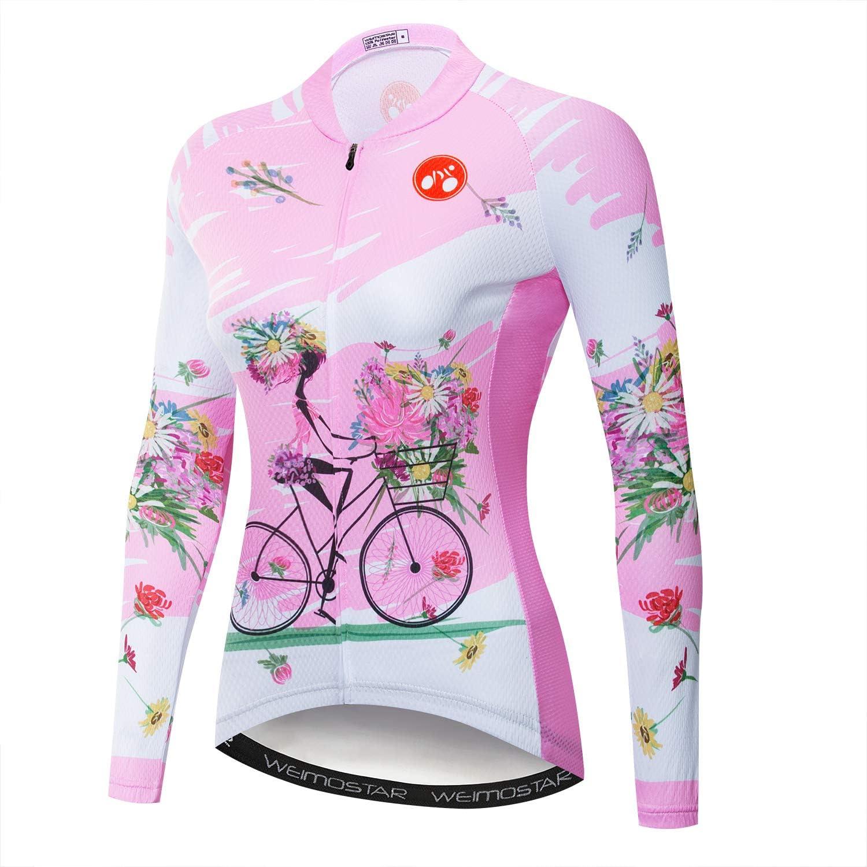 PSPORT Womens Cycling Jersey Long Sleeve Bicycle Tops MTB Bike Shirt Mountain Biking Jacket Girls with Pockets