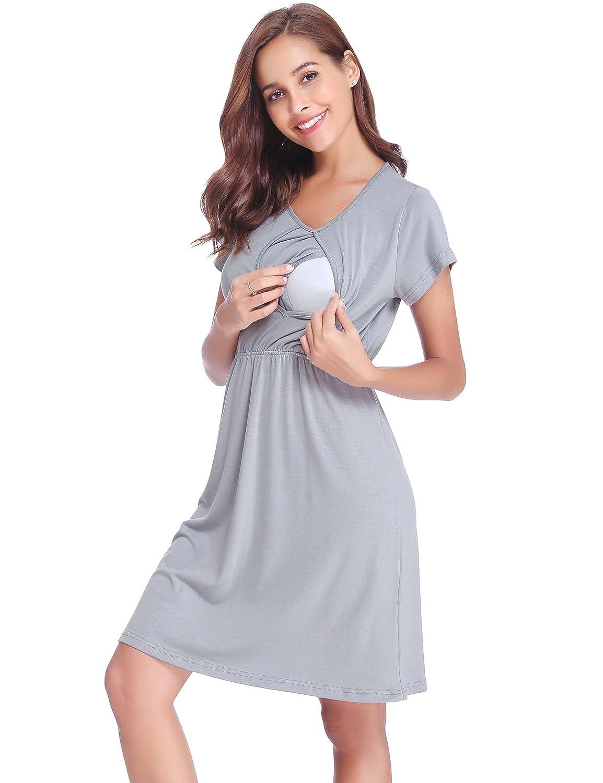 a464f2623f505 Robe Maternité dallaitement Coton Manche Courte Robe de Grossesse Ete  Multifonctions Robe de Pyjamas Occasionnels Top T-Shirt Casua Blouse