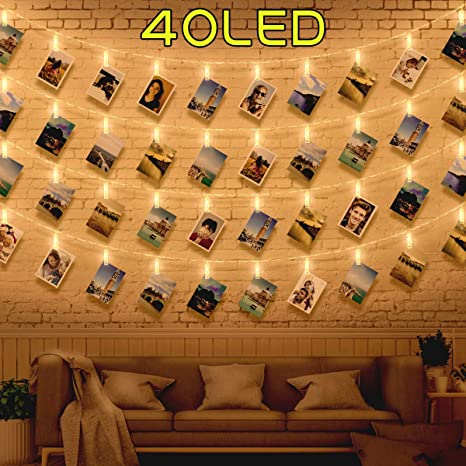 size 40 782e2 f78b5 40 LED Photo Clip String Lights, Fairy Lights Bedroom with Clips for Photos  Polaroid Peg String Lights, Fairy Pegs Lights, Photo Hanging String and ...