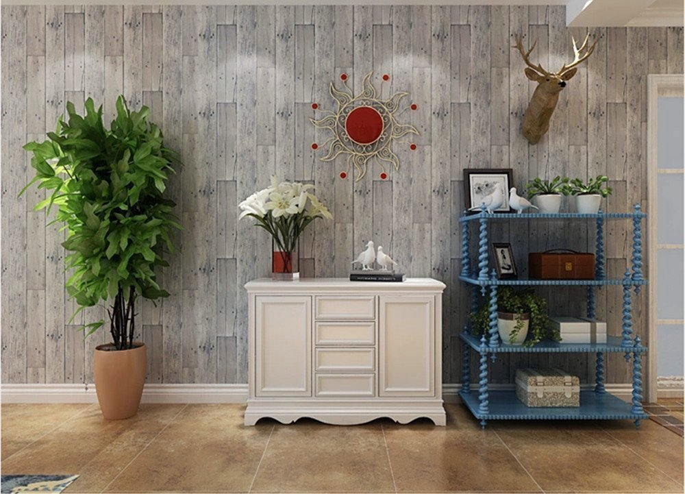 Blooming Wall Faux Wooden Planks Wood Panel Wallpaper Wall Mural