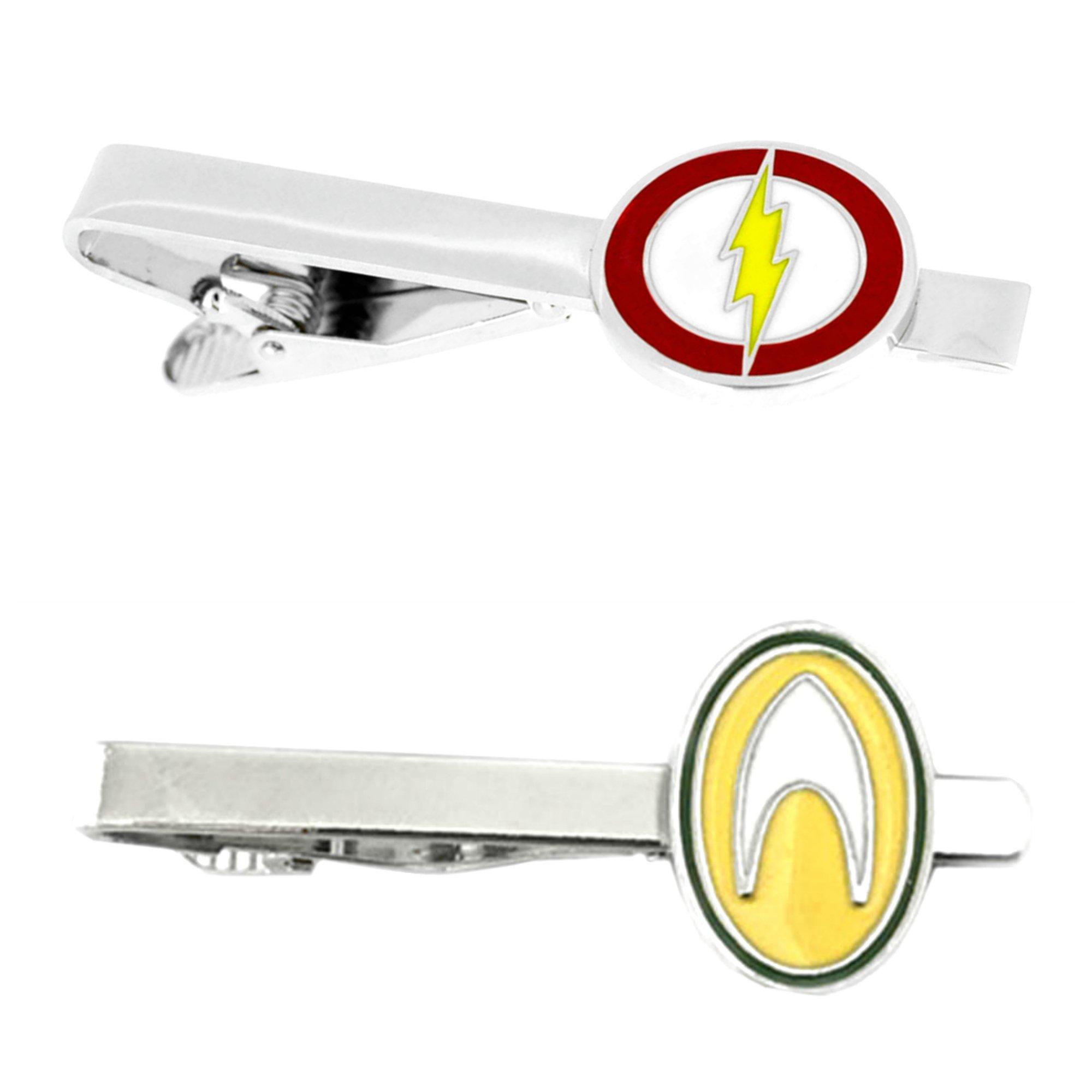 Outlander DC Comics - Flash & Aquaman - Tiebar Tie Clasp Set of 2 Wedding Superhero Logo w/Gift Box