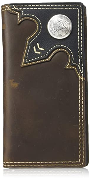 Wrangler Mens Leather Rodeo Wallet Brown Black Out West
