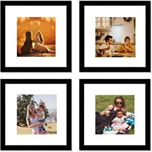 12x12 Black Picture Frame Set,Square Photo Frame with Mat Display Pictures 8x8 or 12x12 Without Mat,PVC Glass frames for Wall Home Office Décor (Black)