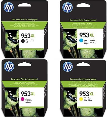 HP 953XL High Yield Original Ink Cartridges, Black, Cyan, Yellow ...