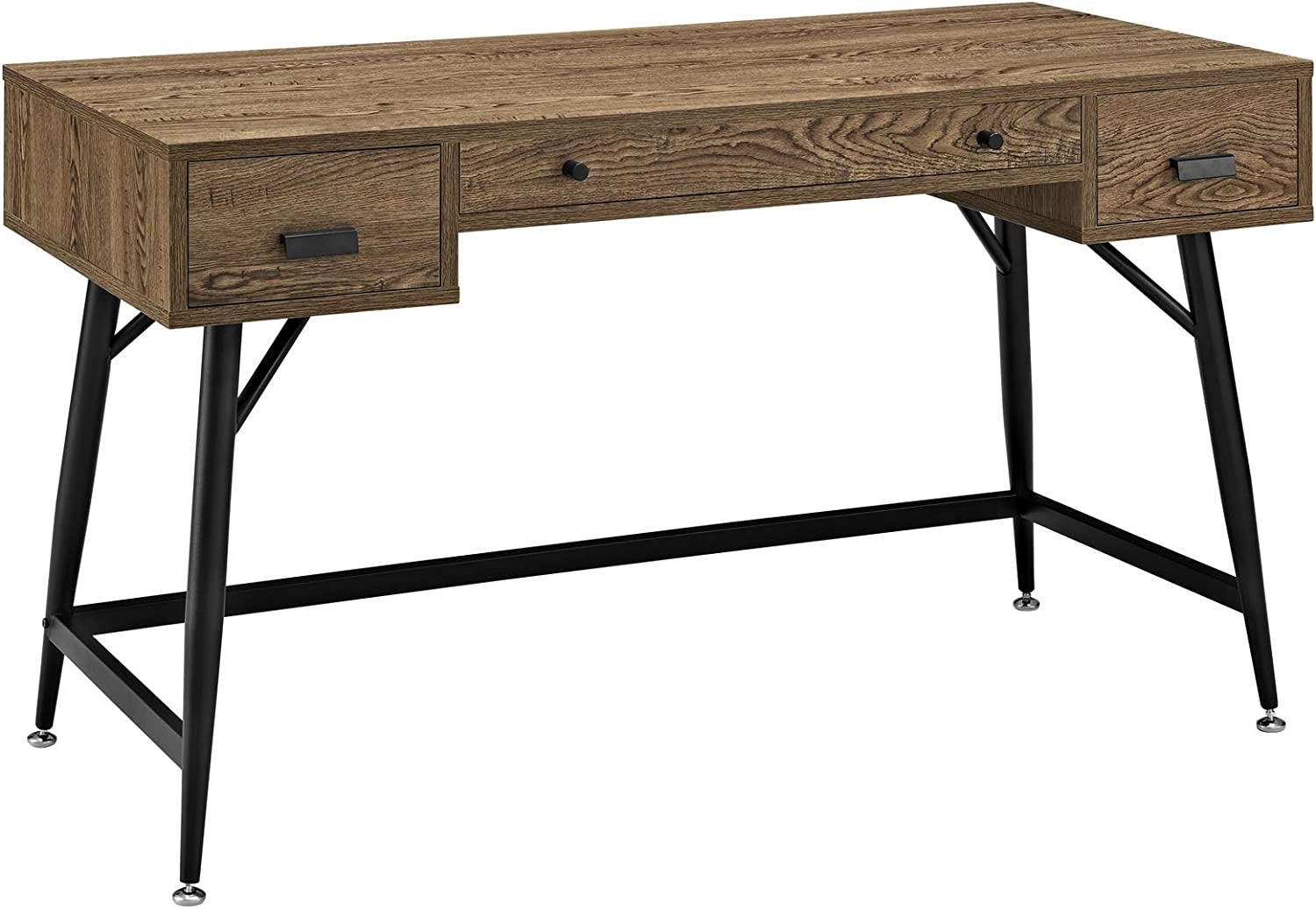 Modway Surplus Wood Grain and Metal Writing Office Desk With Storage Drawers In Walnut