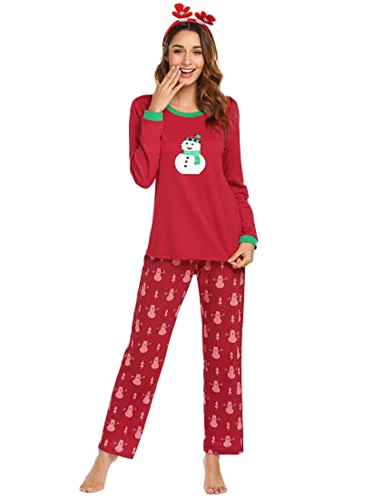 1ffb520f6b Image Unavailable. Image not available for. Color  Ekouaer Pajamas Women s  Christmas Sleepwear Long Sleeve Top   Lounge Pants Soft Pjs ...
