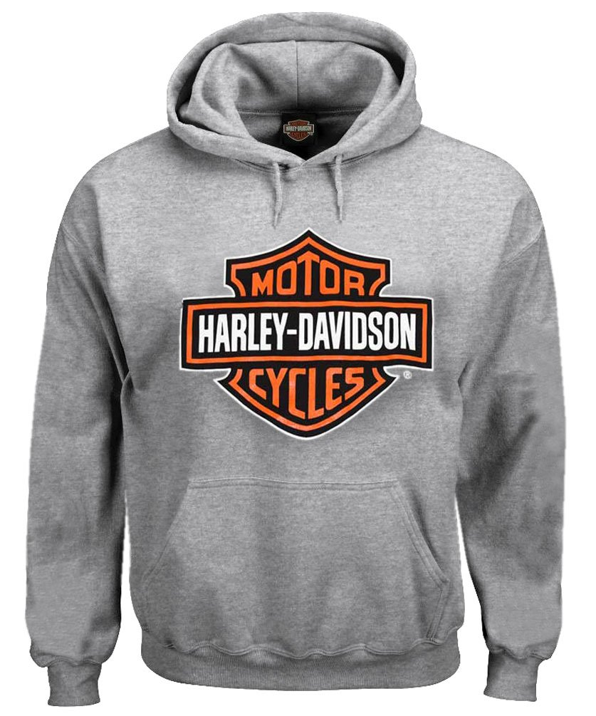 Harley-Davidson Men's Sweatshirt, Bar & Shield Hoodie, Gray 30296627 (5XL)
