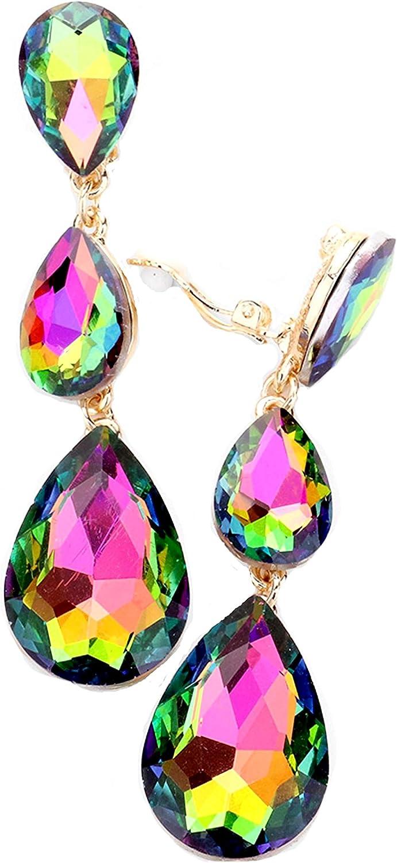 Schmuckanthony Hoernel. Pendientes largos de clip para novia o cóctel, con gotas de cristal, 7 cm de largo, color azul, rosa, fucsia y verde