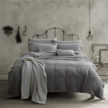 Doffapd Duvet Cover King, Washed Cotton Duvet Cover Set - 3 Piece (King, Light Gray)