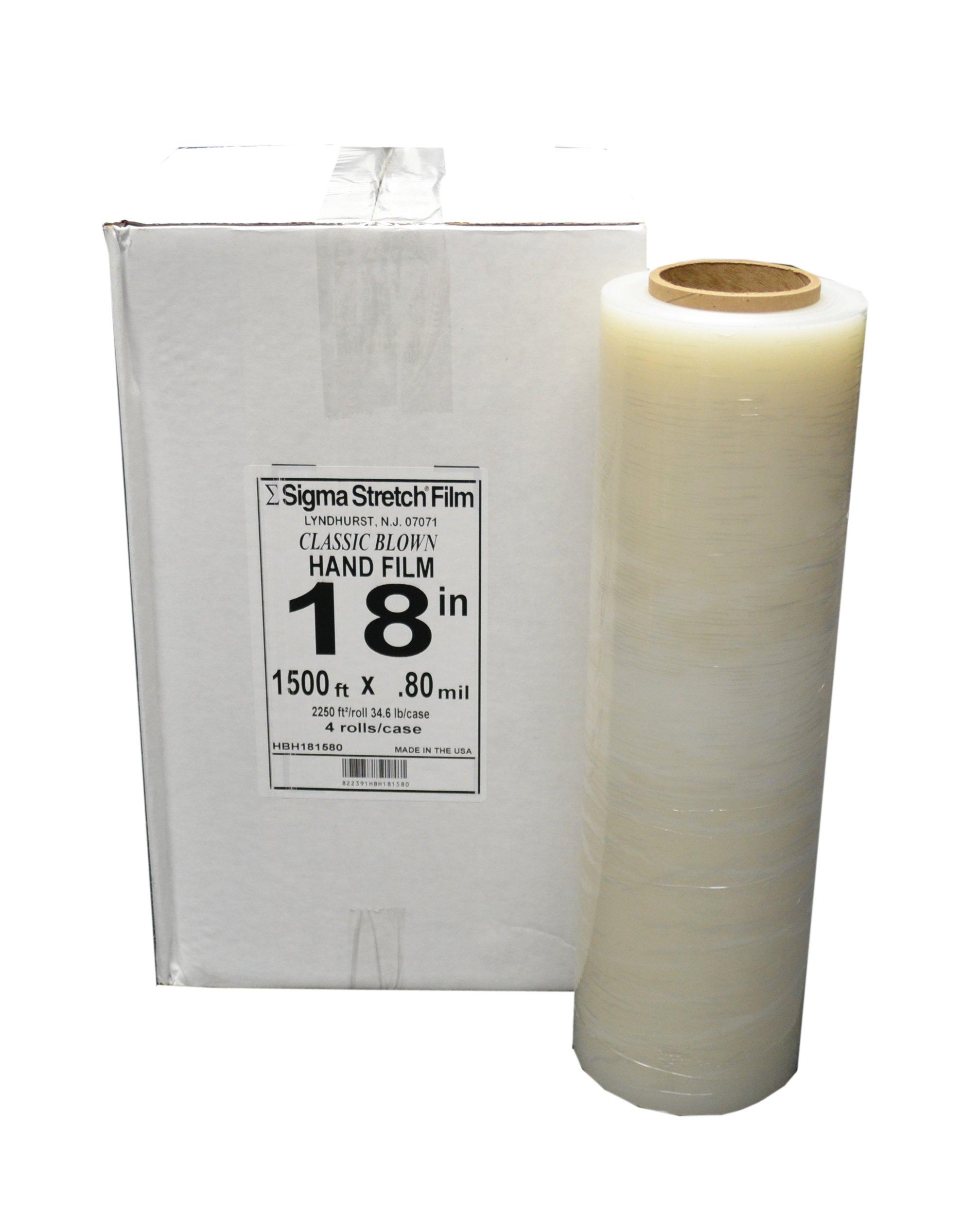 18'' x 1,500 ft. Premium 80 Gauge Clear Pallet Stretch Wrap Film (4 Rolls) - Sigma Stretch Film HBH181580