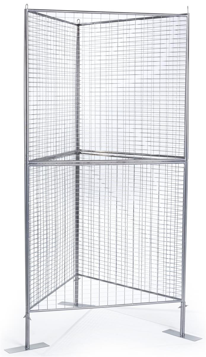 Displays2go Gridwall Art Panels, Iron Mesh Build, Double-Tiered Design - Silver Finish (AD3PNLT)