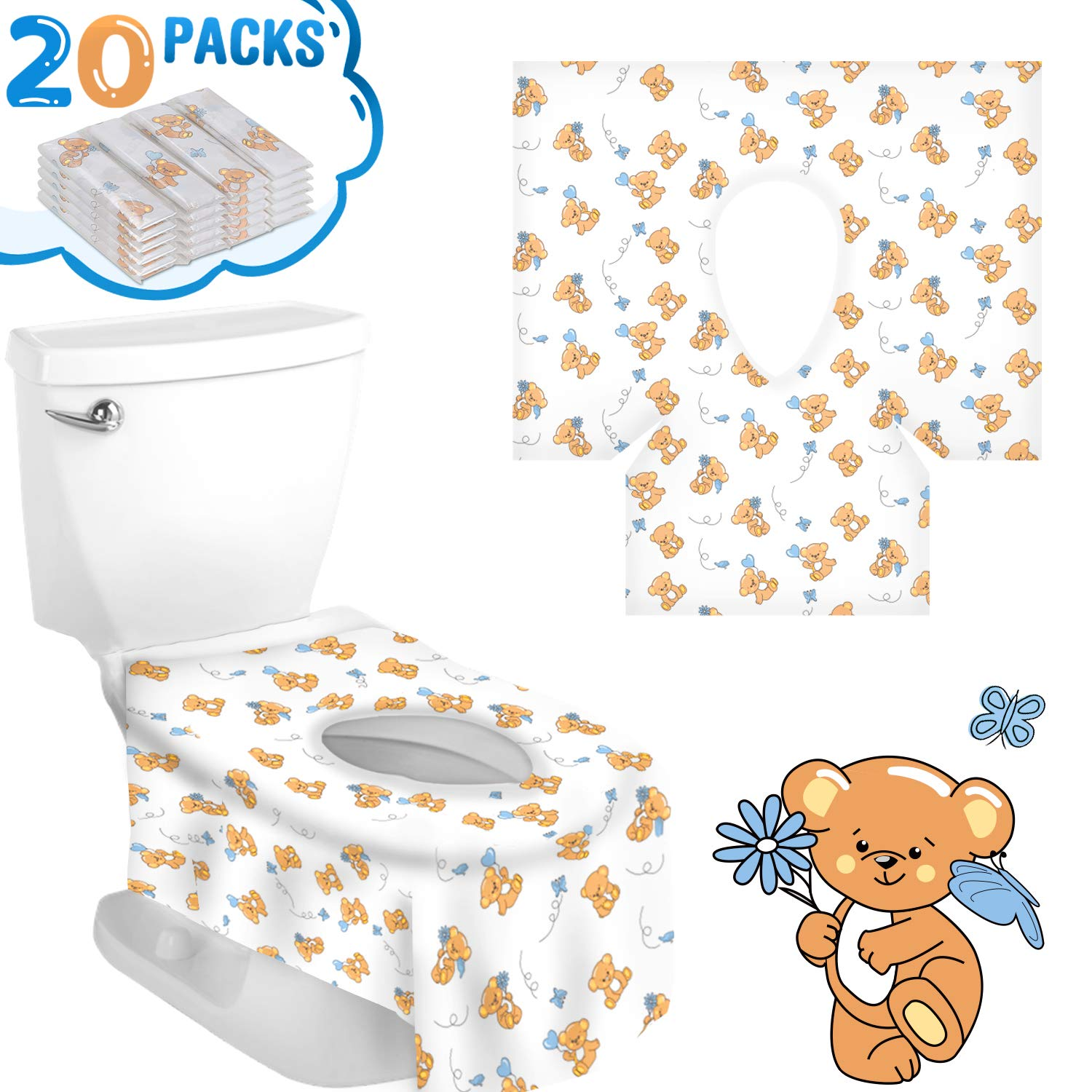 20 Packs Disposable Toilet Seat Covers, Full Coverage & Non-Slip Waterproof Travel Potty Seat Cover Individually Wrapped Potty Seat Covers for Travel Perfect for Adults & Kids (Cartoon Bear) 71JWWXVV3RL