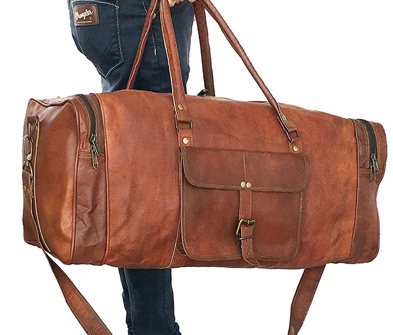 d6c1cd1c3b Amazon.com  Leather bag 24 Inch Square Duffel Travel Duffle Gym Sports  Overnight Weekend Leather Bag By kk s leather  Computers   Accessories