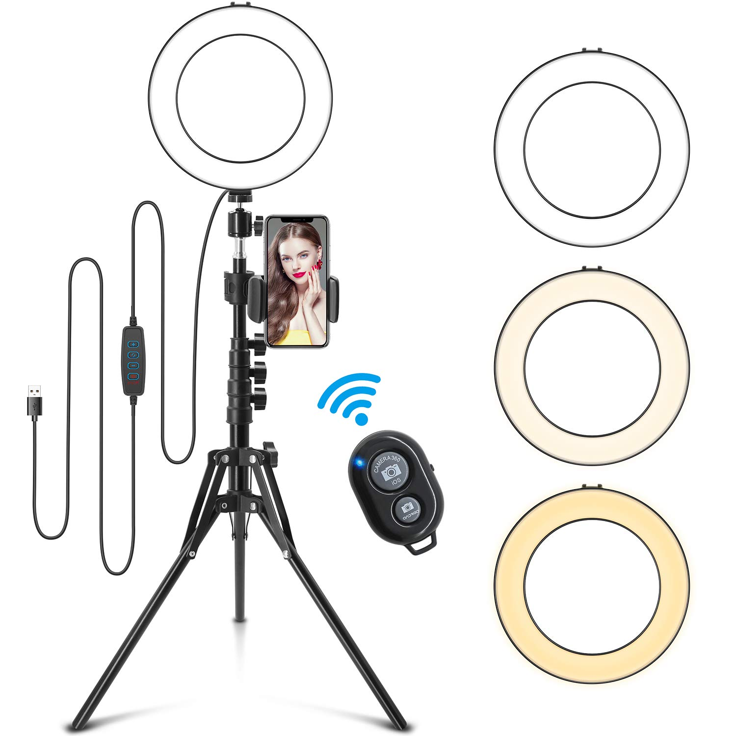 LED Ring Light 8'' with Tripod Stand Adjustable 15.6'' to 59'', Universal Cell Phone Holder, Color Change and Brightness Controllable, Camera Ringlight for Makeup Live Stream Photography YouTube Video by Jurgen K