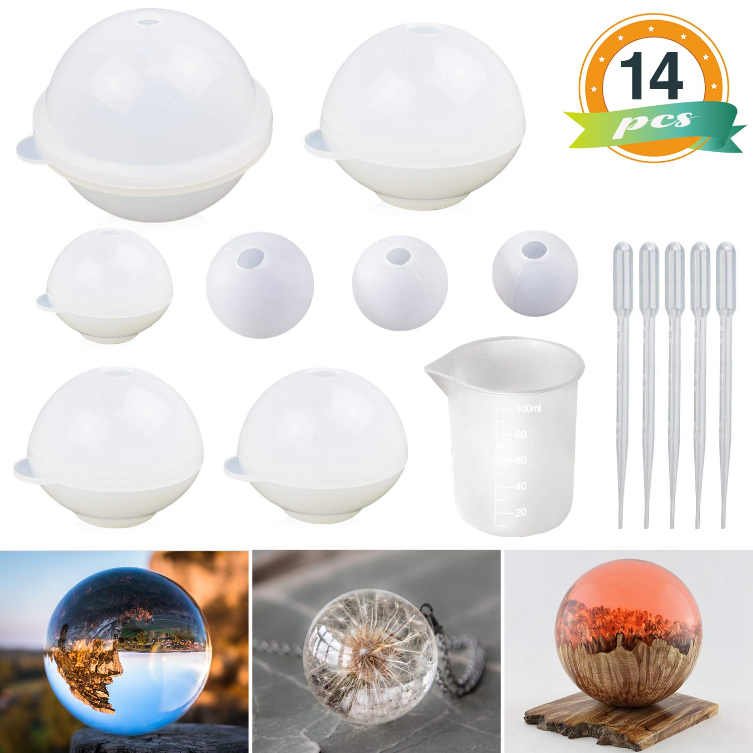 Sphere Silicone Resin Molds LET'S RESIN Round Silicone Mold, Epoxy Resin Ball Molds for Resin Jewelry, Soap Candle DIY, with Nonstick Silicone Mixing Cup by LET'S RESIN