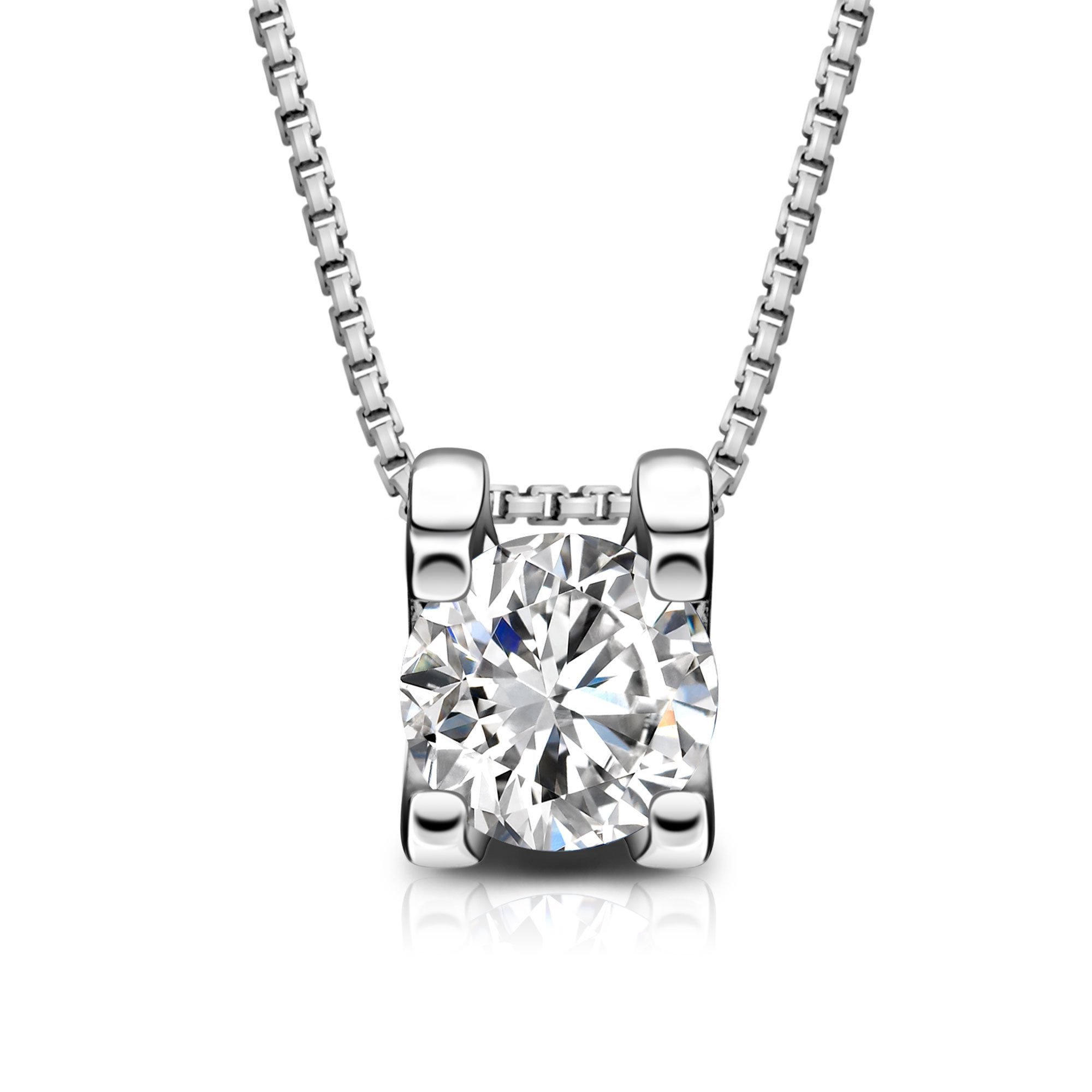 T400 Jewelers 925 Sterling Silver Box Chain Pendant Necklace Made with Swarovski Zirconia Square Shape Love Gift