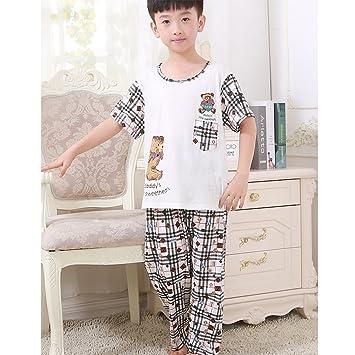 Meng Wei Shop Pijamas Pijama de Manga Corta de algodón de Verano para niños Muchachos Ropa