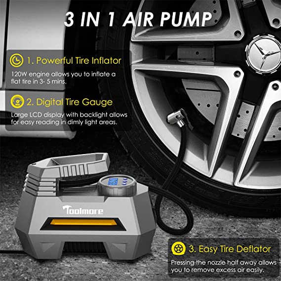 Amazon.com: Fahren Portable Air Compressor Pump Digital Tire inflator 12V 150 PSI Auto Tire Pump with Bright LED Light Digital Tire Pressure Gauge for Car ...
