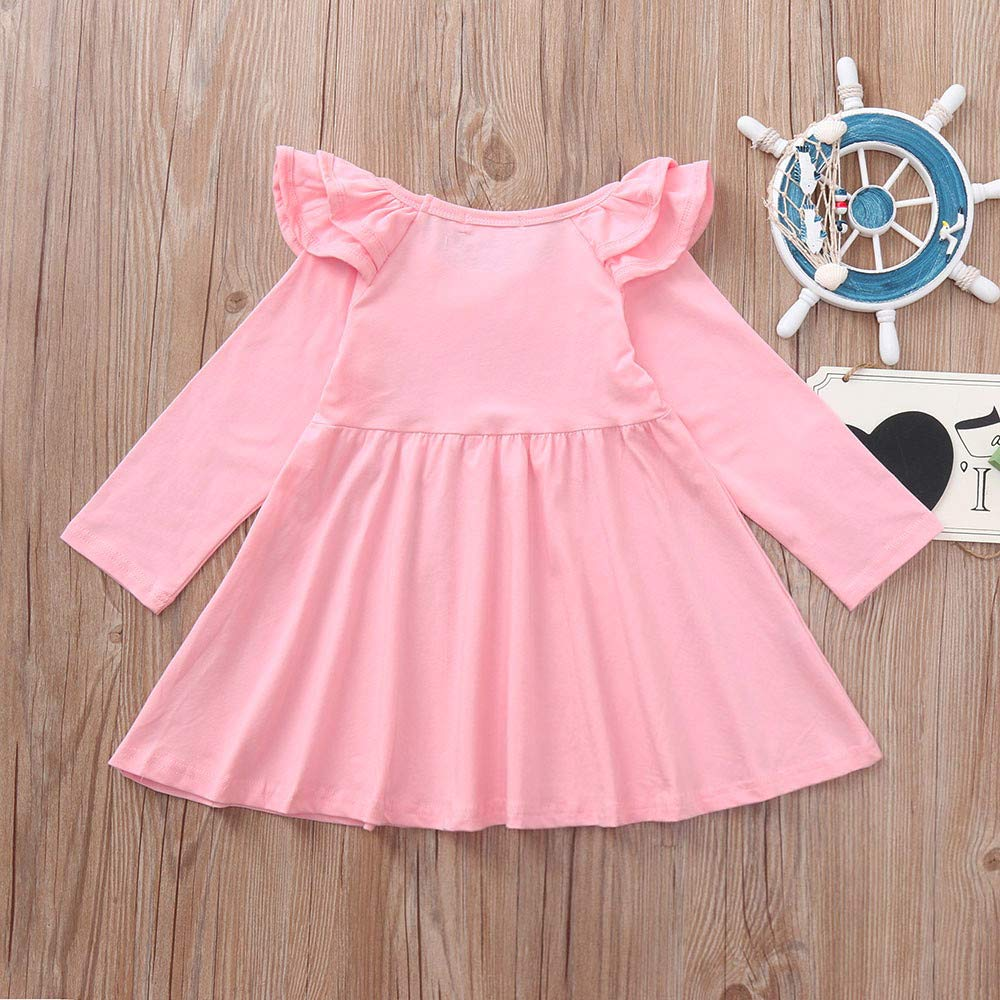 KONFA Toddler Baby Girl Autumn Winter Ruffles Dress,for 1-4 Years Old,Little Princess Long Sleeve Skirt Clothes Set