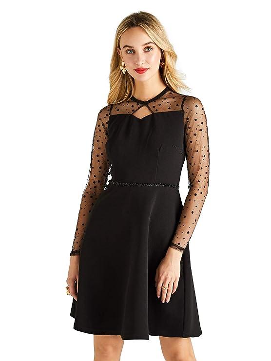 1cfd3120f39 Ponte Dress with Dot Mesh Panel Detail  Amazon.co.uk  Clothing