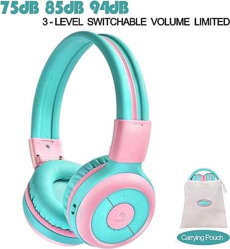 SIMOLIO Kids Bluetooth Headphones with 94dB,85dB,75dB Volume Limited Share Port, Bluetooth Children Headphones for School Travel, Durable Kids Headphones with Portable Bag for Girls, Boys, School