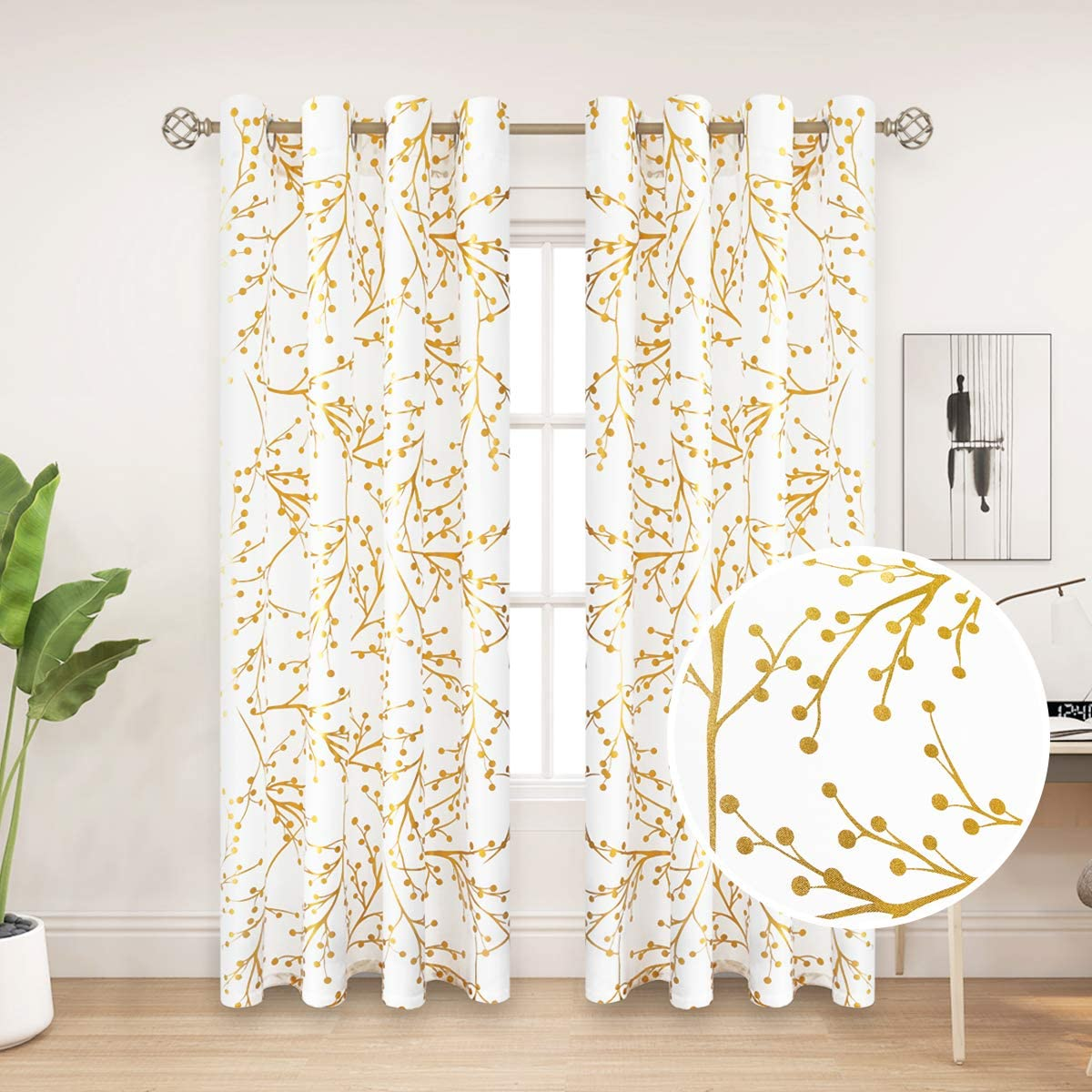 PLWORLD White Yellow Semi-Sheer Curtains 84 Inches Long for Living Room and Bedroom, Fruit Tree Metal Printing on Canvas Window Treatment Drapes with Grommets, 55×84, 2 Panels