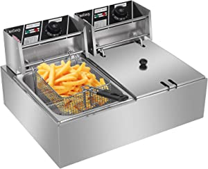 Electric Deep Fryer,12.7QT/12L Large Capacity Deep Fryer,with 2 x Stainless Steel Baskets,Removable Baskets & Thermostats for Commercial and Home Use