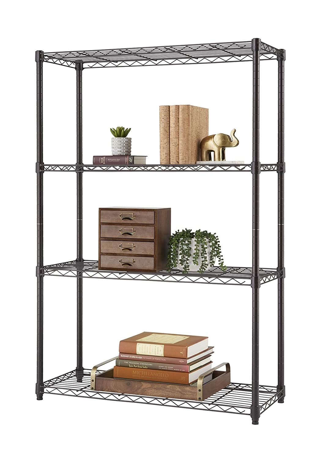 TRINITY 4-Tier NSF Wire Shelving Rack, 36 by 14 by 54-Inch, Bronze