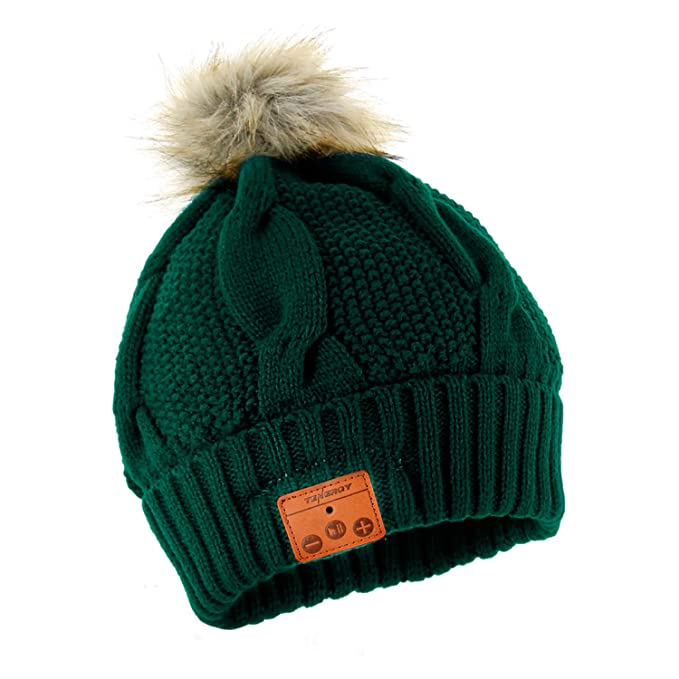 1189a8fa Tenergy Wireless Bluetooth Beanie Hat with Detachable Stereo Speakers &  Microphone, Fleece-Lined Faux